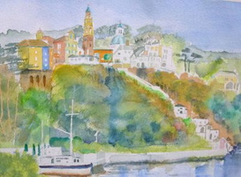 Portmeirion tower landscape