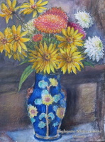Blue Vase  with Autumn Flowers