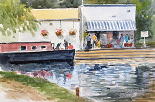 Narrowboat and Cafe, Broxbourne