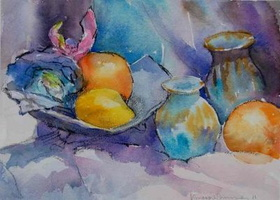 Still Life, Turquoise and Orange